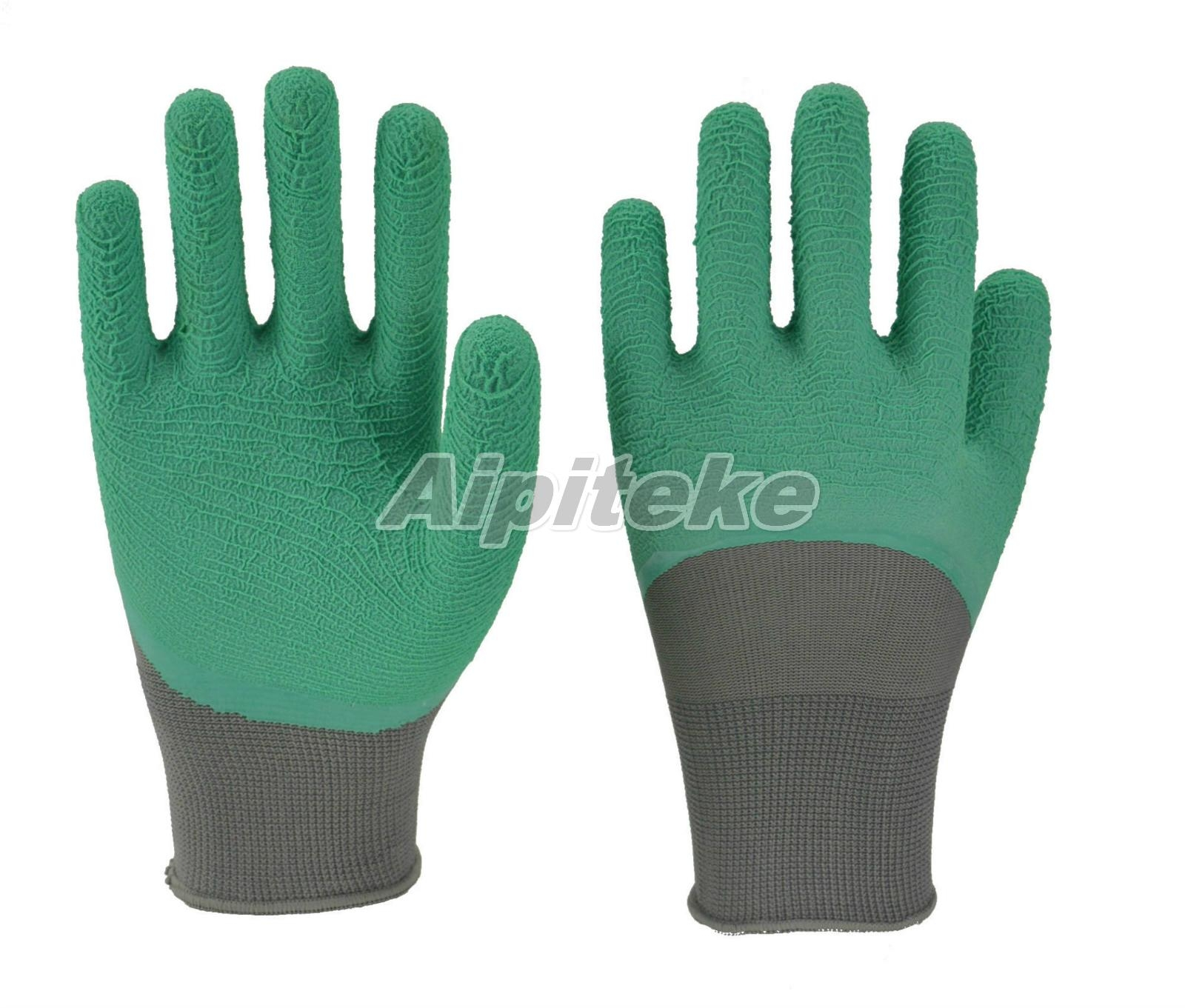 Polyester Liner Gloves with Crinkle Latex Coated on Palm and Knuckles 1