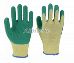 Green Latex Palm Coated Gloves-Wrinkle Finishing