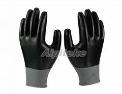 Black polyester shell with black full coated smooth nitrile knit wrist gloves