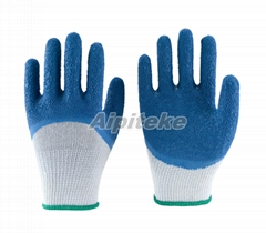 Blue Latex Coated Palm and Knuckles-Wrinkle Finishing