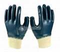 Fully Dipping Blue Nitrile Gloves Interlock Lining With KnitWrist 1
