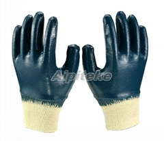 Fully Dipping Blue Nitrile Gloves Interlock Lining With KnitWrist