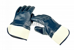 Cotton Interlock Liner Nitrile Fully Dip Gloves with Open Safety Cuff