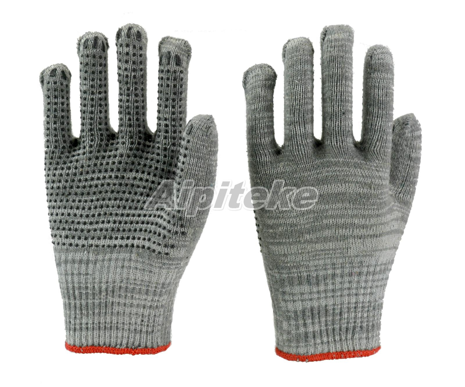 Cotton/Polyester Blend Gray String Knit Gloves with PVC Dotted 1