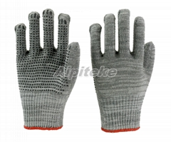 Cotton/Polyester Blend Gray String Knit Gloves with PVC Dotted