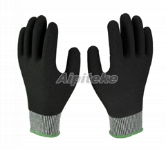 Anti cut gloves HPPE Fiber Gloves with Foam Nitrile Fully Dip Sand Finish
