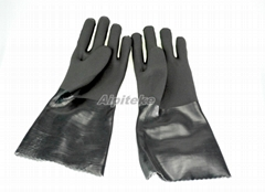 "14"" PVC Dipped Gloves Smooth Finish Cuff Rough Finish Grip Interlock Liner"