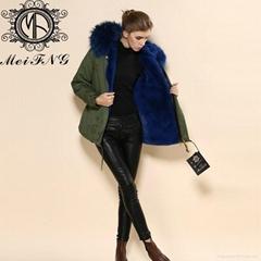 2015 Fashionable Coat Style Long Warm Real Fur Hood Fur Jackets Ladies