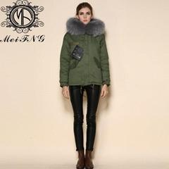 2015 Fashionable Coat Style Short Warm Real Fur Hood Fur Jackets