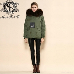 2015 Fashionable Brown Real Rabbit fur european design women jacket