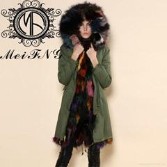 Wholesale fur military parka hot sale fox fur coat fur jacket with factory price