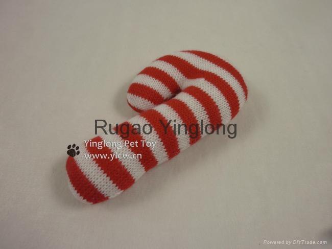 Xmas Knitting Candy Cane Dog Toy, pet toy 1