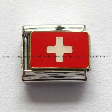 Handcraft National flags stainless steel charms Italian bracelet  2