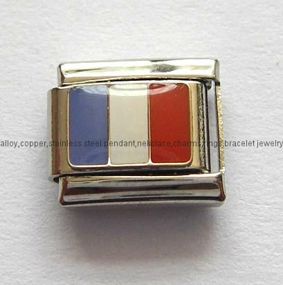 Handcraft National flags stainless steel charms Italian bracelet  3