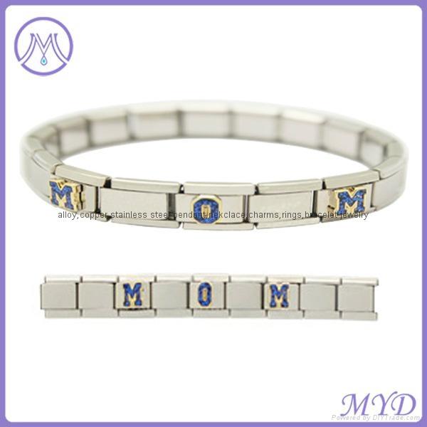 hand enameled Glitter alphabet letter Italian charms  1