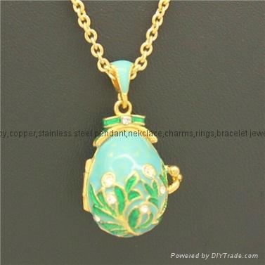 enamel crystal Faberge Egg Pendant necklace 1