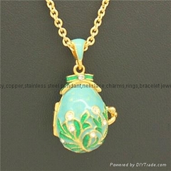 enamel crystal Faberge Egg Pendant necklace