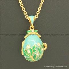 enamel crystal Faberge Egg Pendant necklace