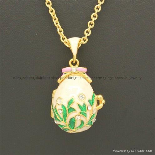enamel crystal Faberge Egg Pendant necklace 2