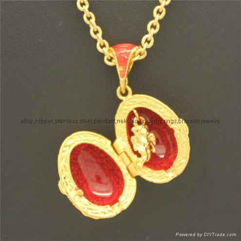 enamel crystal Faberge Egg Pendant necklace 4