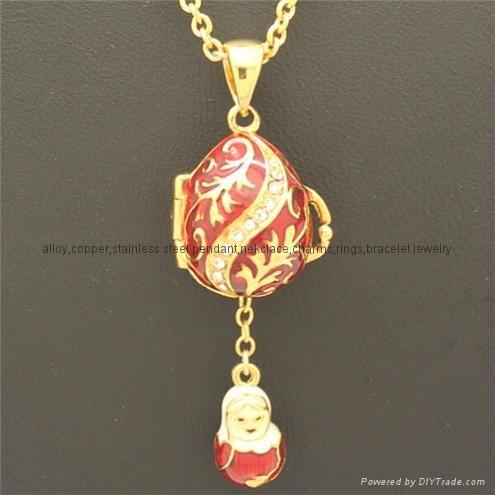 hand enamel ladybug Faberge Egg Pendant for necklace 5