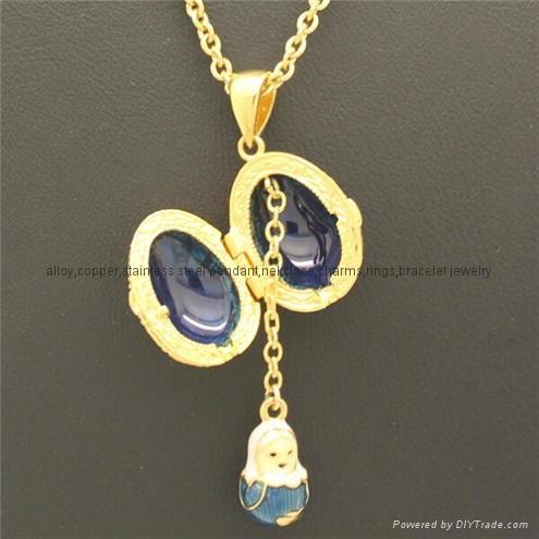 hand enamel ladybug Faberge Egg Pendant for necklace 4