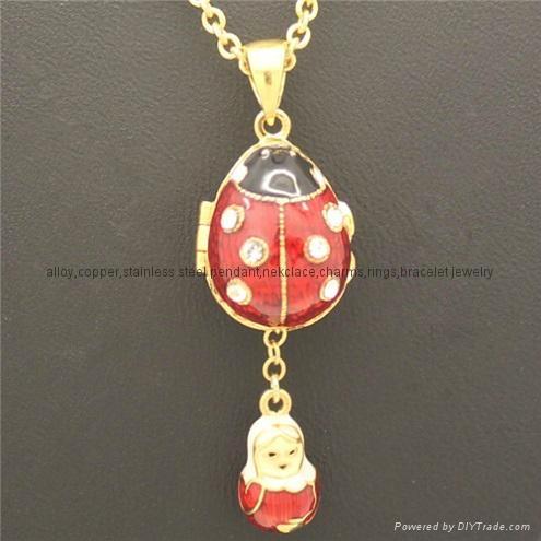 hand enamel ladybug Faberge Egg Pendant for necklace 1