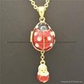 hand enamel ladybug Faberge Egg Pendant