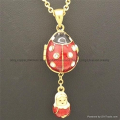hand enamel ladybug Faberge Egg Pendant for necklace