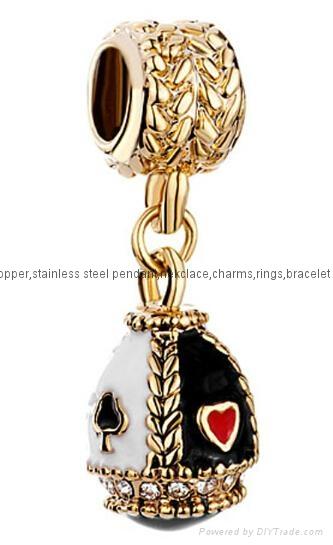 Christmas enamel crystal dangle bead charms for European bracelet 5