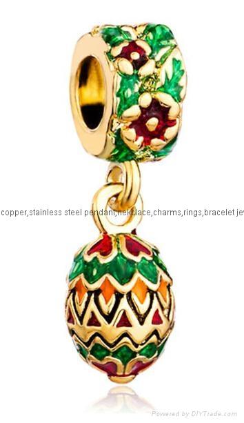 Christmas enamel crystal dangle bead charms for European bracelet 1