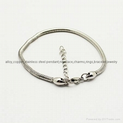 stainless steel snake bracelet fit for any brand charms