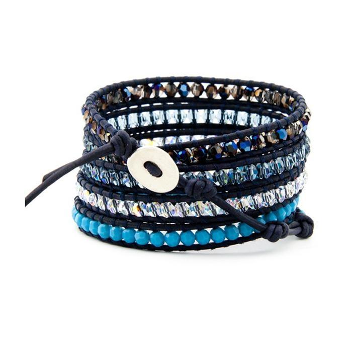 Semi Precious Stones Wrap Leather Bracelets 1
