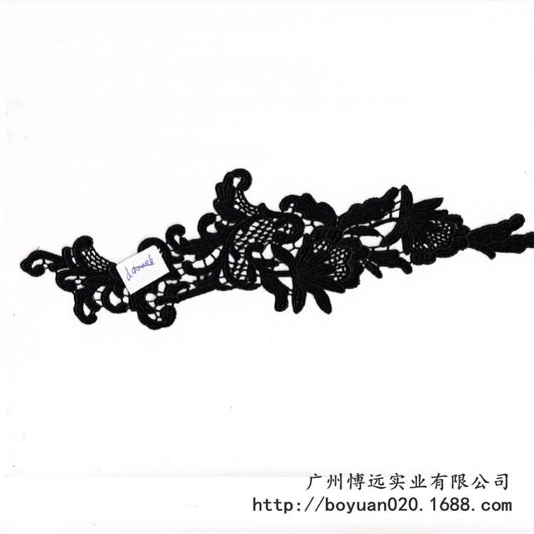 黑色刺繡滌光絲花邊 1