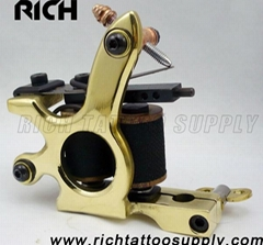 Pro Handmade True Brass Bronze Custom 10 Wrap Coil Tattoo Machine Gun For Shader