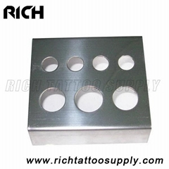 Stainless steel Tattoo Ink Cup Holder for 4 Small 2 Medium 1 Large Caps