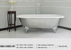 NH-1001-P Freestanding CAST IRON BATHTUB/Clawfoot Cast Iron Bath Tub