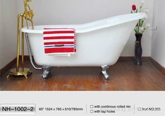 NH-1002-2 Hotsale Single SlipperCAST IRON BATHTUB/New Clawfoot Cast Iron Bathtub 1