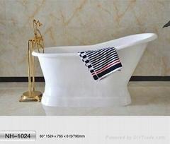 "NH-1024 66"" Pedestal Freestanding CAST IRON BATHTUB/Hot sale Cast Iron Bath Tub"