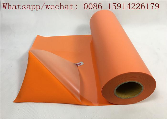 Fashionable Orange Flock Heat Transfer Vinyl / Heat Transfer Polyester Film