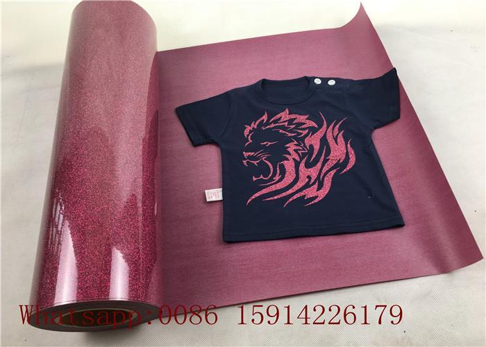 Custom School Shirt Pink Glitter Heat Transfer Vinyl 100% Enviromental Friendly 4