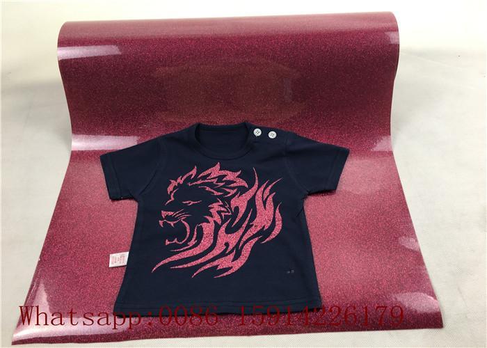 Custom School Shirt Pink Glitter Heat Transfer Vinyl 100% Enviromental Friendly 1