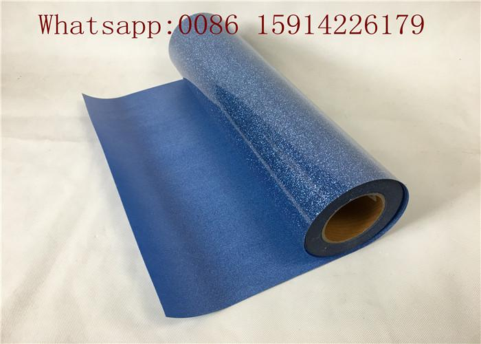 Washable Blue Glitter Vinyl Sheets Strong Sticky For Clothing Printing 4