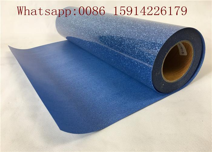 Washable Blue Glitter Vinyl Sheets Strong Sticky For Clothing Printing 5