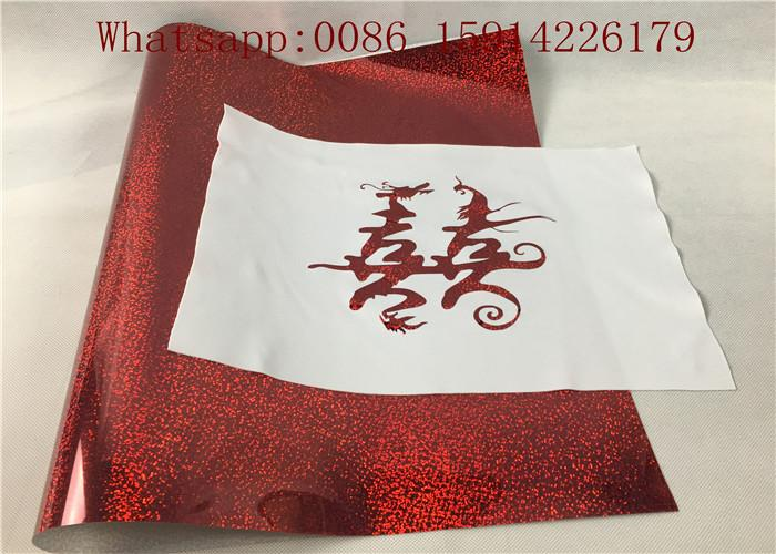 0.5*50M Laser Hologram Heat Transfer Vinyl , Pink Holographic Iron On Vinyl  4
