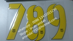 letter and number heat transfer for jersey