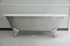 Double Roll Top Clawfoot Bath polished