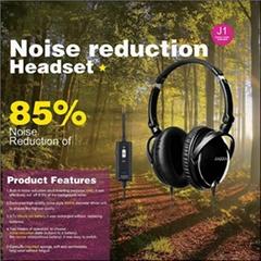 JAZZA Wired Headband Gaming 85% Noise Reduction Headphone Black ANC J1