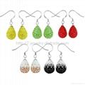 silver drop earrings with rhinestone