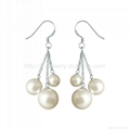 pearl drop earrings with sterling si  er hook fashion jewelry